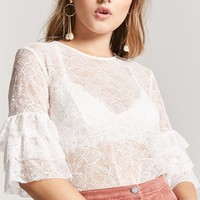 Sheer Lace Ruffle Top