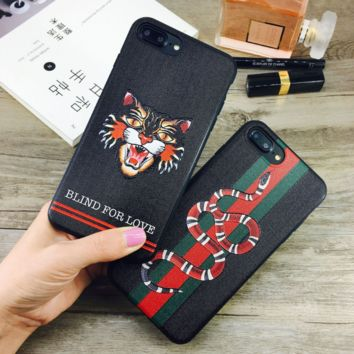 High Quality Tiger Snake Embroidery Iphone X 8 8 Plus 7 7 Plus 5 5S SE 6 6s Plus Cover Case