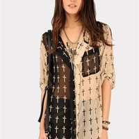 Baby Cross Pocket Blouse - Beige at Necessary Clothing