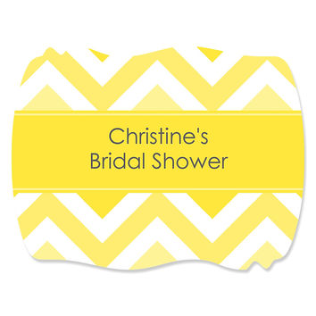 Chevron Yellow - Personalized Bridal Shower Squiggle Stickers - 16 ct