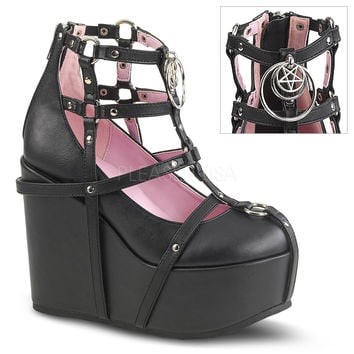 "Poison 25 Goth Punk Platform Cage Ankle Boot 5"" Wedge"