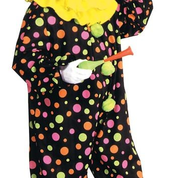 Clown Costume Neon Dotted 1 Size freak show adult