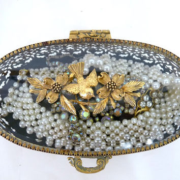 1930s Matson Antique Gold Gilt Ormolu Oval Jewelry Casket, Sign Bird and Godwood Trinket Box French Filigree