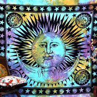 Shopnelo Psychedelic Celestial Indian Sun Hippie Hippy Tapestry Wall Hanging Throw Tie Dye Hippie Hippy Boho Bohemian Tye Die Hand-loomed Window Doorway Door Curtain