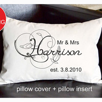 Mr & Mrs Personalized pillow, Wedding gift , Anniversary gift pillow, Newlywed Gift,Engagement Gift,Bridal shower gift , Wedding pillow P11