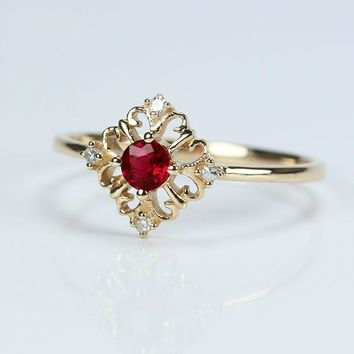 Vintage 0.18CT Natural Ruby Gemstone Anniverary Jewelry 18K Rose Gold Wedding Engagement Ring