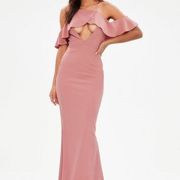 Missguided - Pink Strappy Frill Detail Maxi Dress