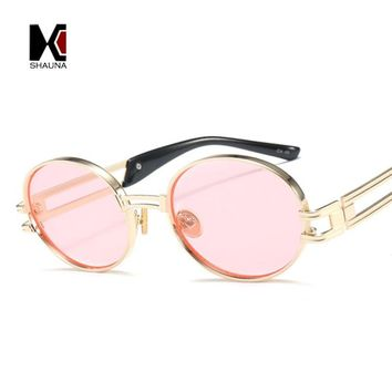 SHAUNA Classic SteamPunk Styles Women Oval Sunglasses Fashion Thick Metal Frame Men Yellow Tinted Lens Glasses UV400