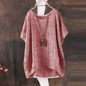 New Women Casual T-shirt Tops Loose Vintage Cotton Linen Short Sleeve Baggy Solid T-Shirt