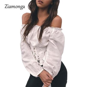 2bba3dd216 Ziamonga Women T-Shirt Long Sleeve Corset Waist Lace Up Shirts C