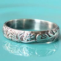 Floral silver ring, sterling silver, flower pattern design, vintage style, handmade ring, rustic wedding ring, stacking ring