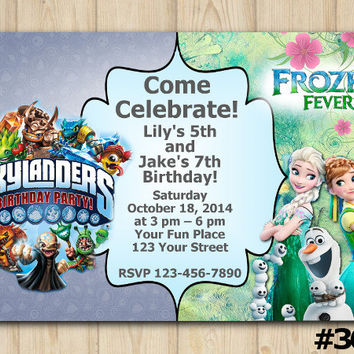 TWINS INVITATION Frozen Fever / Skylanders Trap Team, Boy/Girl Birthday, sibling birthday, double birthday,twin party, custom invite (#362)