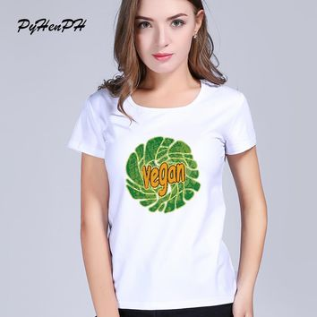 Abstract vegan  Print T shirt Women Short Sleeve Casual Basic white Tops