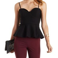 Black Strappy Sweetheart Peplum Top by Charlotte Russe