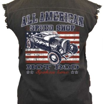 Men's Camo Sleeveless Denim Shirt American Speed Shop Hot Rod Denim Vest