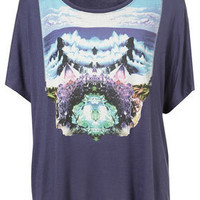 Navy Beach Mystic Print Tee By Workshop - Topshop