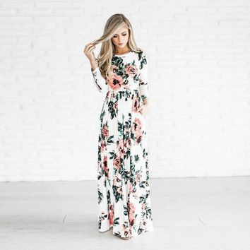 Summer Women Floral Print Wrist Sleeve Empire Waist Boho Dresses Femme Vestidos Ladies Evening Party Long Beach Maxi Dress