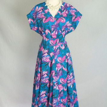 Vintage 80's Electric Blue Hawaiian Pin-up Circle Sun Dress M Gorgeous Skirt!