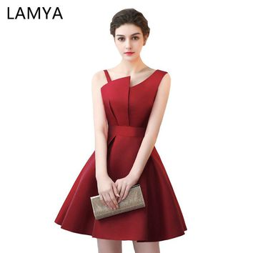 Lamya Scalloped Cheap Red Stain A Line Prom Dresses 2018 Elegant Evening Party Dress Plus Size Special Occasion Gowns