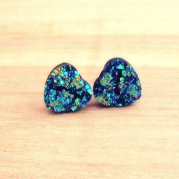 Druzy Heart Cabochon Post Earrings