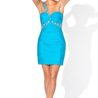 Beaded Cocktail Short One-Shoulder Strap Tight silhouette Bridesmaid Dresses YSP9382bl - $99.99 : Maxnina.com