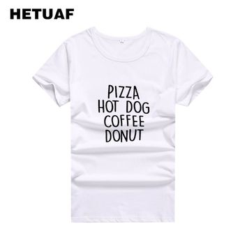 HETUAF PIZZA HOT DOG COFFEE DONUT T-shirt Women Tops 2018 Hipster Hippie Funny T Shirts Women Harajuku Printed Tee Shirt Femme