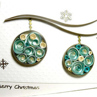 handmade paper quilled Christmas card – Merry Christmas ornaments