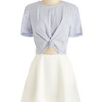 ModCloth Mid-length Short Sleeves A-line Stripe for the Taking Dress