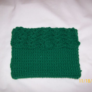 Crochet Clutch Purse with Flap, Handmade, Fashion Purse, Evening Bag