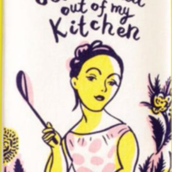 Get the Hell Out of My Kitchen Dish Towel in Pink, Purple and Yellow