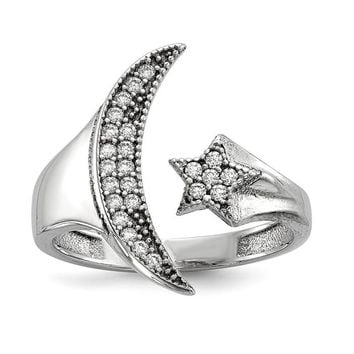 Sterling Silver CZ Crescent Moon With Star Statement Ring
