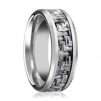 Aydins Mens Tungsten Wedding Band w/ Grey Carbon Fiber Inlay Beveled Edges 8mm Tungsten Carbide Ring