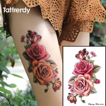 Tattoo Sticker 1piece Indian Arabic 3D rose flowers  waterproof