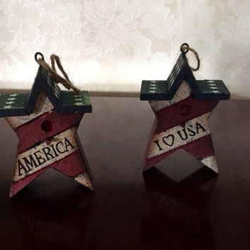 Fairy Garden Miniature Birdhouses, Pixie Houses, Small Rustic Birdhouse, Bird Houses, Painted Star American Flag Hangings