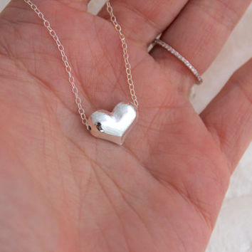 Sterling Silver Floating Puffed Heart Necklace - Eco Friendly Nickel Free Recycled Silver and Freshwater Pearls