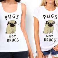 pugs not drugs Tank top , Tshirt ,T shirt For Women