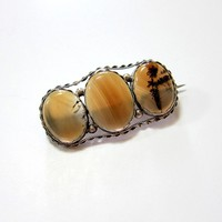 Late Georgian Early Victorian Sterling Dendrite Agate Brooch