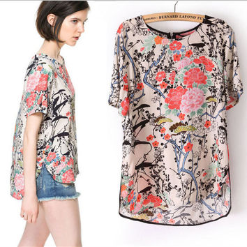 Floral Print Short-Sleeve Asymmetrical Blouse