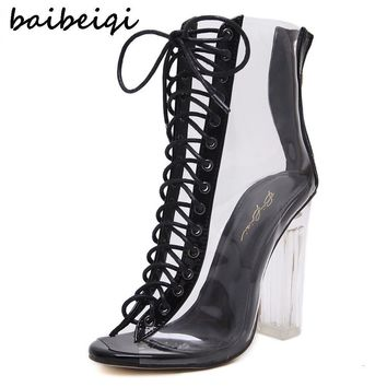 baibeiqi Women Gladiator Sandals PVC Clear High Heel Transparent Boots Lace Up High To