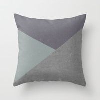 Concrete & Triangles Throw Pillow by no.216