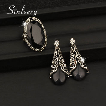 SINLEERY Vintage Antique Silver Color Jewelry Set For Women Opal Dangle Earrings And BIg Oval Rings Set 2pcs/set TZ234