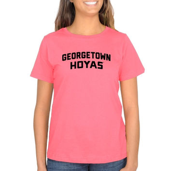 Georgetown Hoyas Ladies Pop of Pink Classic Fit T-Shirt - Pink