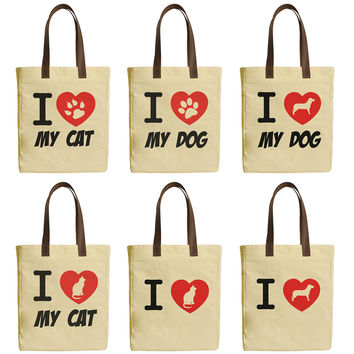 I Love Dog and Cat Beige Print Canvas Tote Bags Leather Handles WAS_30