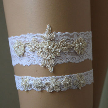 Wedding Garter,White and Champagne Lace Bridal Garter,Wedding Accessory,Bridal Lingerie,Wedding Lingerie