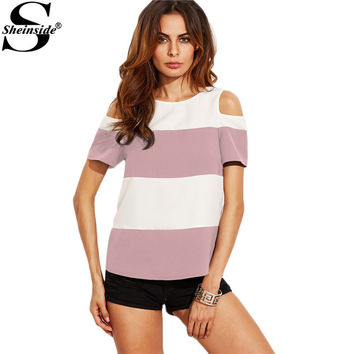 Sheinside Wide Striped Blouse 2017 Casual Tops Women Pink Open Shoulder Sexy Summer Tops New Curved Back High Low Tunic Blouse