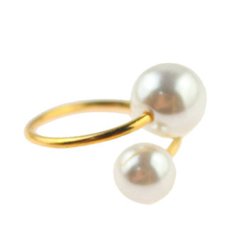 Gold Faux Pearl Bangle Bracelet and Ring Pack