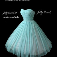 Custom Vintage 1950's 50s Style Ruched Chiffon Party Prom Dress... Deliciously offered in these Colors...