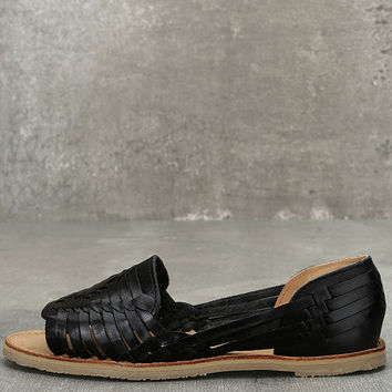 Sbicca Jared Black Leather Huarache Flats