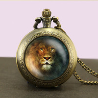 Lion Locket necklace,lion Pocket Watch Necklace,fob watch locket necklace