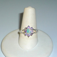 Genuine Opal and Amethyst Ring Sterling Silver .925